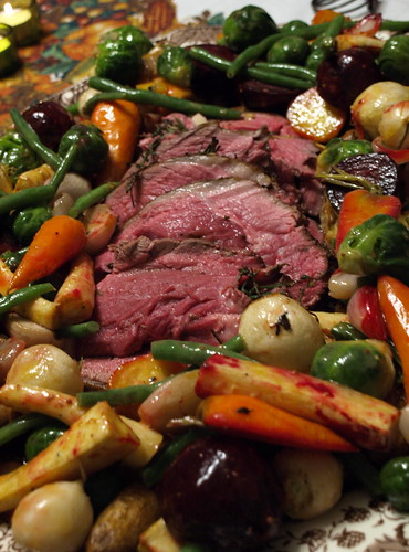 roasted lamb with market vegetables