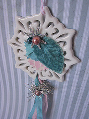Pink & Aqua Shabby Snowflake (kristen7744) Tags: snowflake christmas pink glitter star aqua bell sweet cottage sparkle ornament stocking shabby vintageimage
