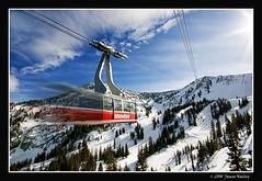 In a Hurry! (James Neeley) Tags: winter motion ski landscape utah skiing tram skiresort snowbird jamesneeley