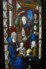 Medieval stained glass - three kings