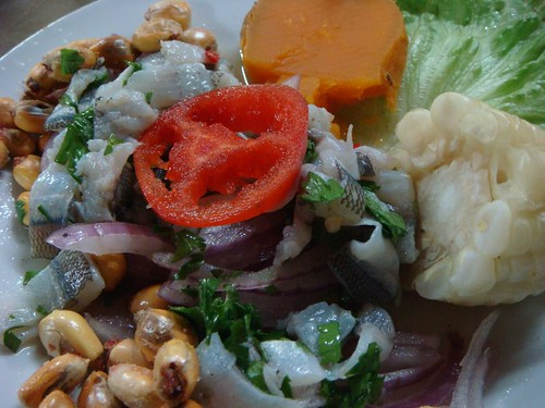 Ceviche - a local dish with raw fish marinated in lime and chili and onion...