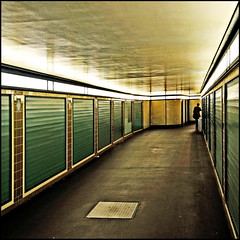 Some things should be simple (Maerten Prins) Tags: reflection berlin green yellow wall germany subway person floor corridor ceiling tiles ubahn lamps duitsland berlijn