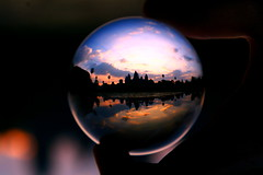 Angkor Wat in a crystal ball (kees straver (will be back online soon friends)) Tags: travel reflection water colors architecture clouds sunrise temple ruins asia cambodia southeastasia khmer angkorwat sphere refraction siemreap angkor flickrblog silhouet crystalball abigfave anawesomeshot keesstraver