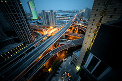 Shanghai-2011-elevated-road-crossing (Raphael Olivier) Tags: china road street city urban architecture photography asia photographer shanghai documentary wideangle editorial intersection elevated urbanism reportage raphaelolivier