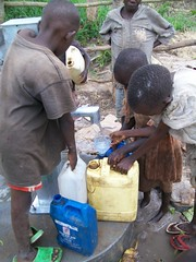 Filling several water containers