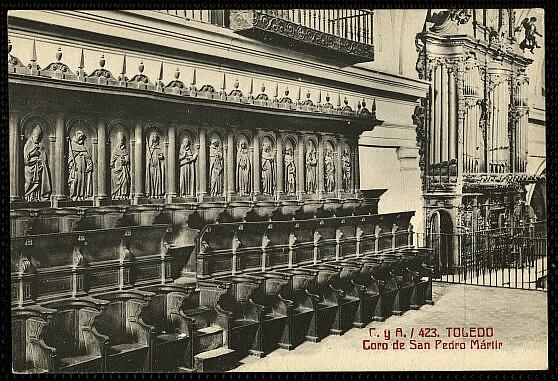 Coro del Convento de San Pedro Mártir a comienzos del siglo XX. Foto Castañeira