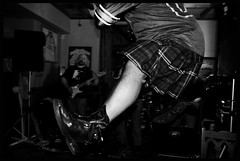 Going for it (Briggate.com) Tags: music rock pub kilt janice gig leeds livemusic bald band rockmusic barry kilts baldmen baldy landlady theerics thethreehorshoes threehorshoes asdsc4579bw