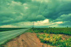 Sunday afternoon (erre castillo) Tags: road photoshop way landscape high camino carretera cloudy paisaje triste tamaulipas nublado raining range dymanic hdr parcela girasoles sembrados polocote matamors