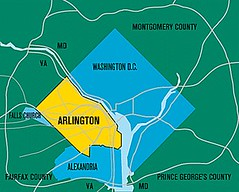 Arlington in yellow, SW of Washington DC (image by Arlington County)