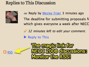 Monitor NECC 2008 discussions with RSS