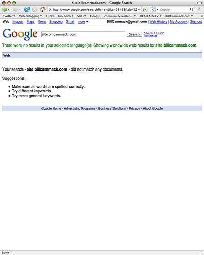 Bill Cammack Site Disappears From Google