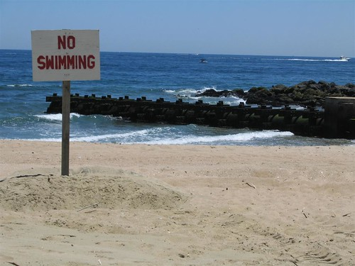 No Swimming hand painted sign