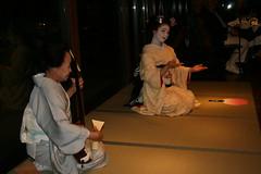 IMG_3019 (avsfan1321) Tags: pink white yellow japan fan dance kyoto dancing performance makeup maiko geiko mamasan geisha tatami kimono obi gion shamisen furisode hanamachi paperfan samisen japanesefan okaasan apprenticegeisha darari danglingobi