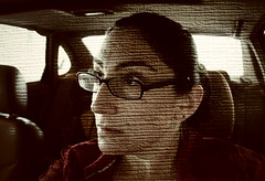 Driving me to distraction / Day 356 Year 2 (sadandbeautiful (Sarah)) Tags: portrait woman selfportrait texture car female self glasses armslength yeartwo 365days day356y2