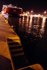 Midnight summer stories (Sergioς) Tags: sea night port reflections lights dock ship hellas greece highspeed piraeus attica