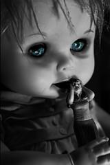 We know what you're thinking...... (Ali Johnson (Photography)) Tags: blackandwhite weird scary doll dolls blueeyes creepy spooky sybil babydoll haunting disturbing unusual bizarre nightmares selectivecolor freakshow dollparts scarydolls freakydolls spookydolls bmovievictim creepybabydolls alijohnsoncom bizarredolls aliofthedolls
