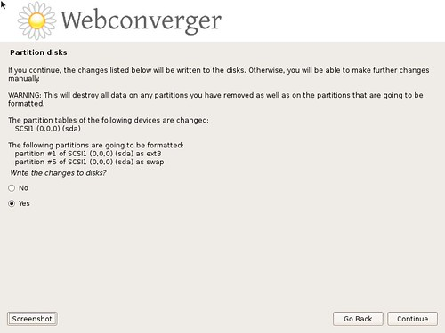 Click Yes to replace the contents of your disk with Webconverger