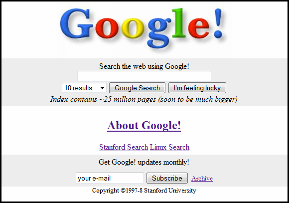 Screenshot of Google website in 1998