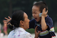 A kid and the mobile phone