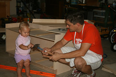 Haley helping Hayden build benches