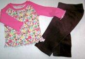 REDUCED Inspiration Pants/Curved Raglan Set *Flower Power* 2T