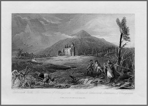 07- Castillo de Carlaverock – Grabado en acero de J.H Kernot de un dibujo de H. Melville para una escena de la novela de W. Scott Guy Mannering 1836