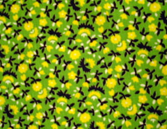 bright green vintage fabric with yellow flowers