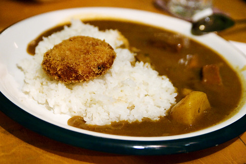 beef curry with potato croquette