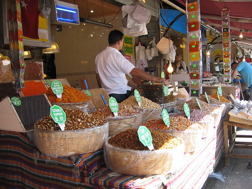 Dried fruits, nuts and spices at the Spice Bazaar