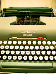 green typewriter.