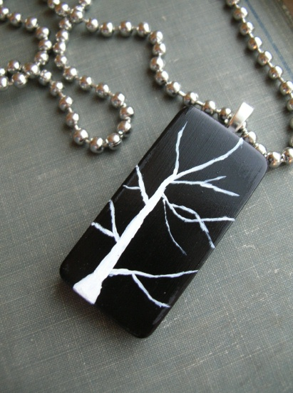 Black & WhiteTree Pendant Necklace