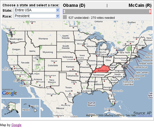 Electoral Map as of 4:17pm PST, Obama - 3, McCain - 8