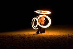 Fire Dancers in Playa del Carmen (ScreenPotato) Tags: show light black beach night canon mexico fire 50mm sand playadelcarmen playa handheld carmen manualfocus fireshow flamable canonef50mmf18ii