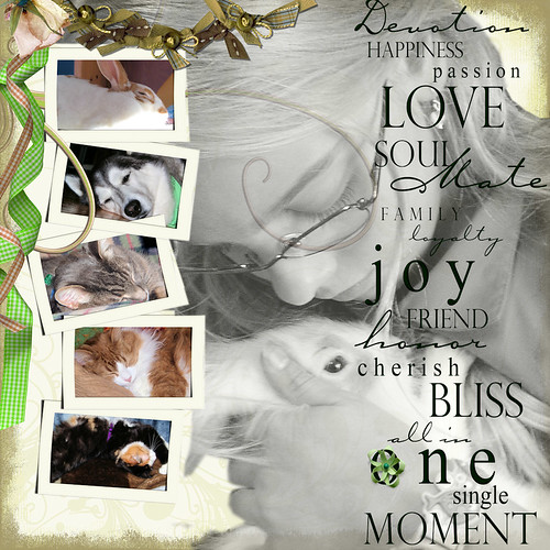 Maïté-octobre 2008-with her favorite baby bunny - digital scrapbooking
