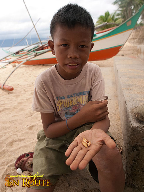 Kid with Talisay Edible Nuts