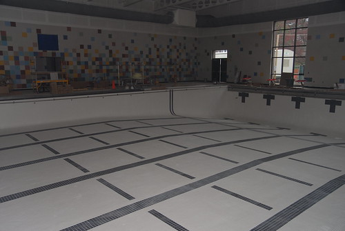 The competition pool is tiled and ready to go