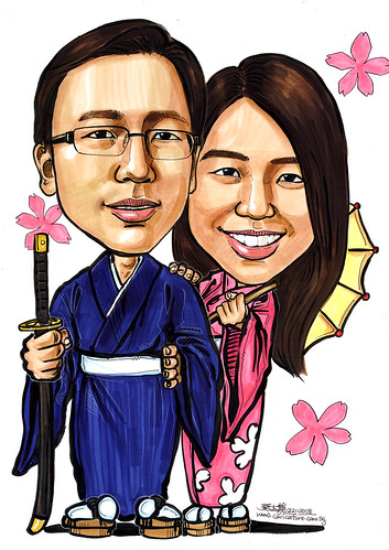 Couple wedding caricatures in Kimono A4