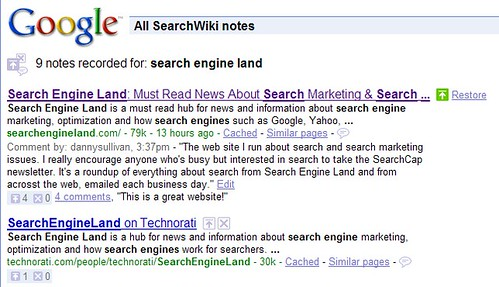 SearchWiki Comments