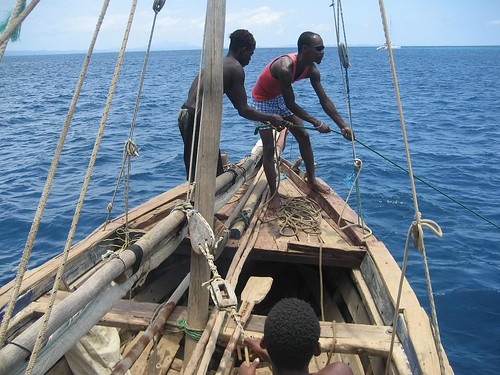 hauling dhow anchor