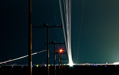 3 departures, 2 arrivals in 5 minutes (frischmilch) Tags: longexposure sky night airplane lights airport aviation dsseldorf dus gettyimagesgermanyq1