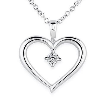 18k White Gold Dainty Heart Diamond Pendant (1/20 ct. tw.)