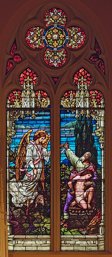 Saint George Roman Catholic Church, in New Baden, Illinois, USA - stained glass window of Abraham's sacrifice