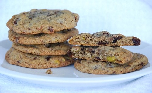 Chocolate Chip, Cherry, and Pistachio Cookies