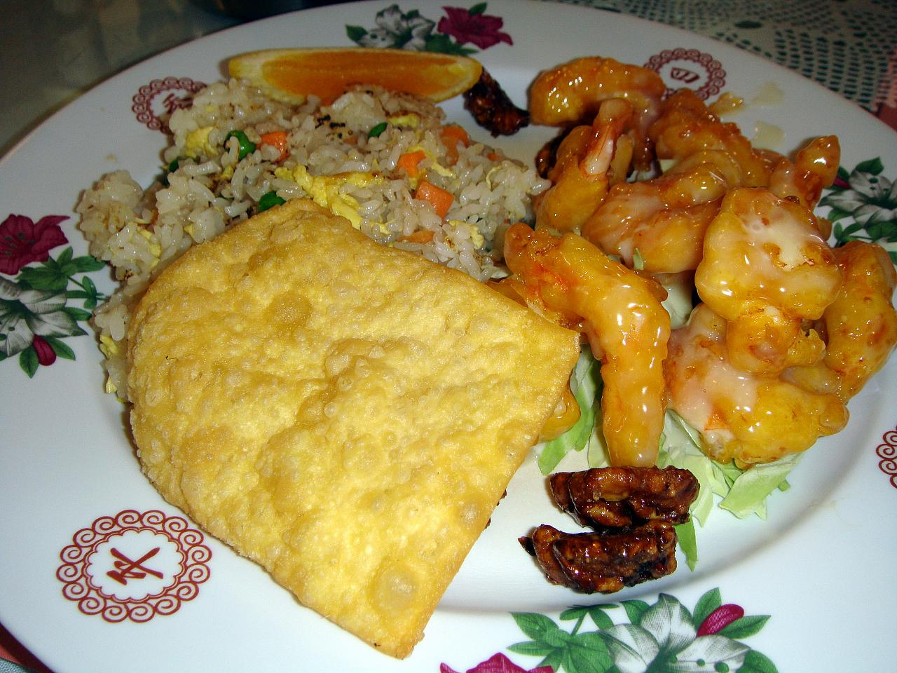 Walnut Shrimp with Fried Rice