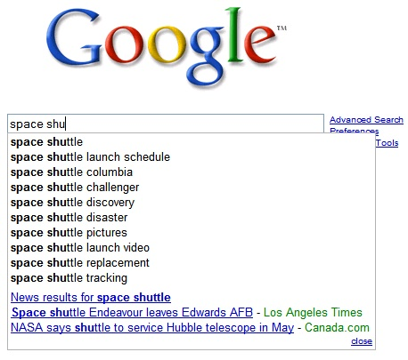Space Shuttle On Google Suggest