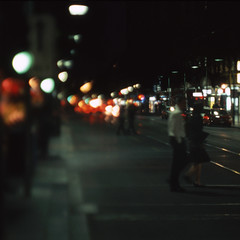 n*(n-1) (memetic) Tags: street city people urban night lights crossing melbourne tilt eos5 sensia swanston