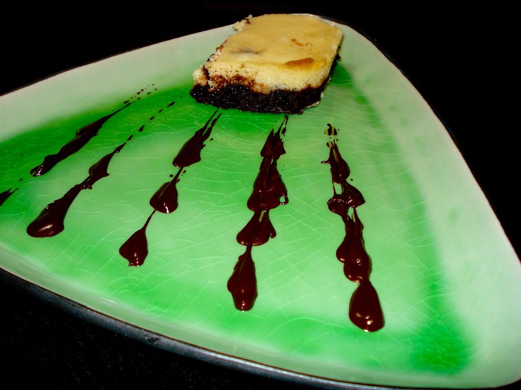 Cheesecake on a brownie crust
