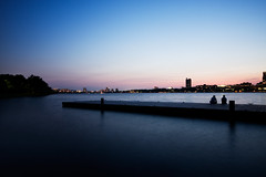 Urban Tranquility (Amar Raavi) Tags: cambridge sunset water silhouette boston canon river pier twilight couple mit dusk massachusetts charlesriver newengland sigma tranquility wideangle beaconhill amar greenway beantown memorialdrive bostonist storrowdrive sigma1020mm urbantranquility raavi canoneos40d amarraavi