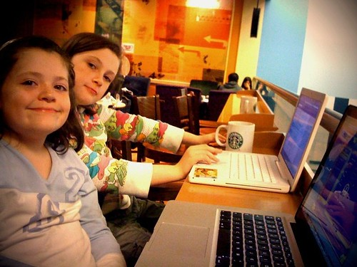 2 girls. 2 Macs. 1 Starbucks (275/365)