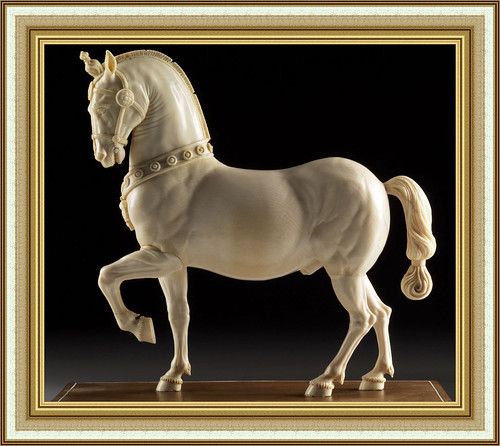 Outstanding carved ivory figure of a horse